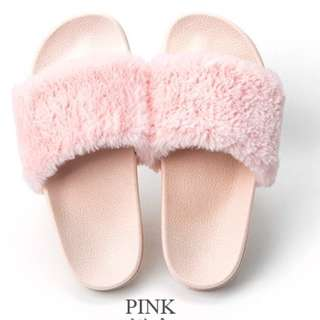 Fluffy Slip On Sandals