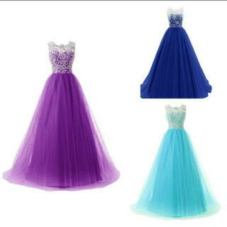 Women Long Lace Maxi Dress Evening Formal Party Ball Gown