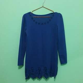 Blue Lace Scallop Blouse #20under