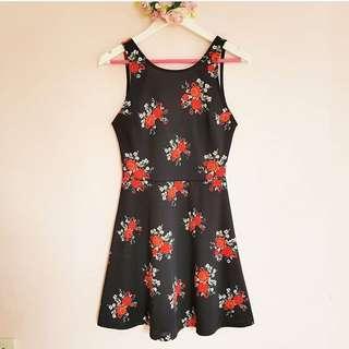 H&M Black Floral Skater Dress