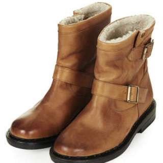 TOPSHOP BROWN Winter Boots FUR LINED