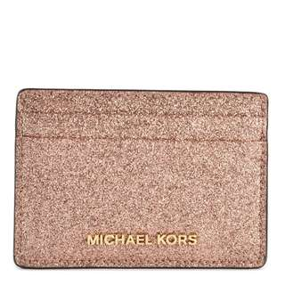 MICHAEL KORS Money Pieces Rose Gold Leather Card Holder