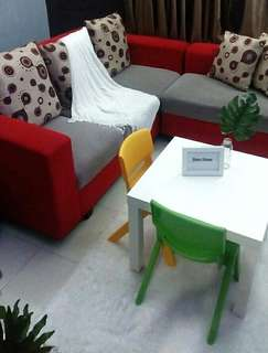 Sofa L Minimalis Warna Merah mix Grey