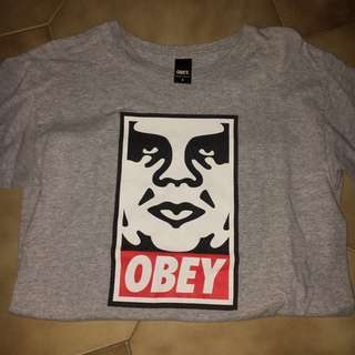 OBEY logo grey t shirt