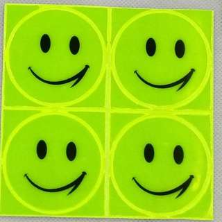 1 sheet 10x10cm Reflective sticker Cute stationery smile face sticker for student bag motorcycle scooter for visible safety