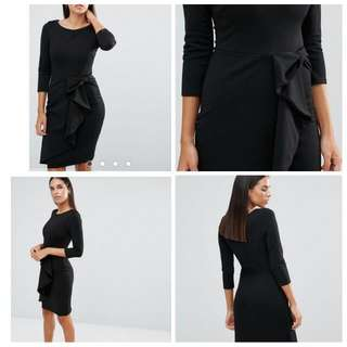 Asos Black Waterfall Dress L 14-16