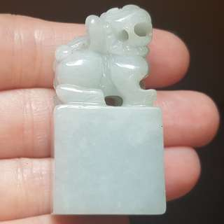 Certified Type A Grade Jadeite Seal Display Grade A Myanmar 100% Natural Green Jade Lion 狮子 印章