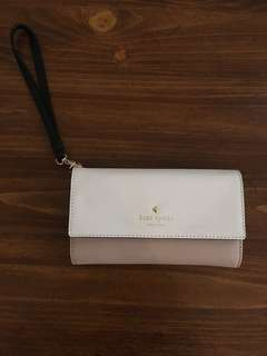 Kate Spade pink and white phone Wristlet wallet brand new