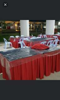 Rental of sq and rect tables set @$10