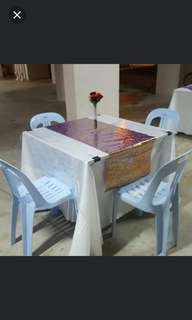 Table and chairs rental $11 with skirting, 4 chairs, table runner and flower