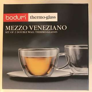 *NEW* bodum double wall cups and saucers set of 2 thermo-glass