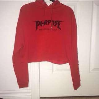 red cropped justin bieber purpose merch hoodie