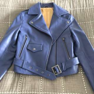 Further reduced - Sky blue real leather jacket