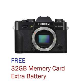New Fujifilm X-T20 Mirrorless Camera Body Only (Free 32GB Card  + Ori Extra Battery)