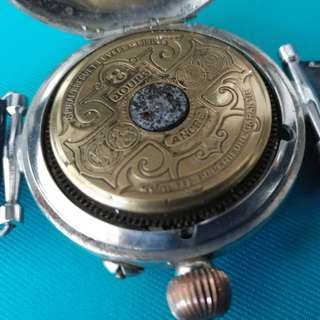 * 要修理 * VINTAGE HEBDOMAS VISIBLE BALANCE 8 JOURS (8 DAYS) HI-GRADE POCKET WATCH MOVEMENT STERLING SILIVER CASE, Watches 古董手錶 ▶ Need to Repair