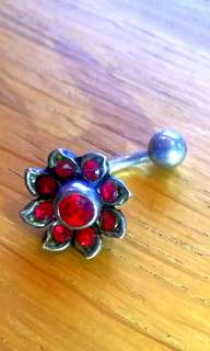 Belly button piercing surgical steel ruby with removable flower