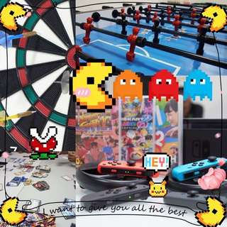 唔知有無你地岩玩既野呢?一齊黎開P吧。😆 partyroom,Games. Switch , boardgames,場地出租,足球機,飛標機,遊戲