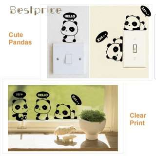 New Set of 3 Panda Light Switch Sticker