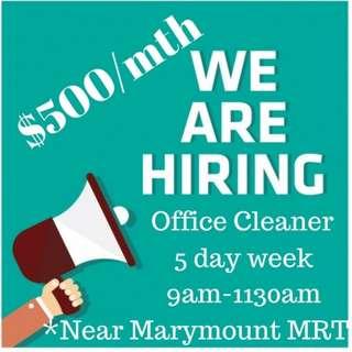(Near Marymount MRT) Office Cleaner PART time