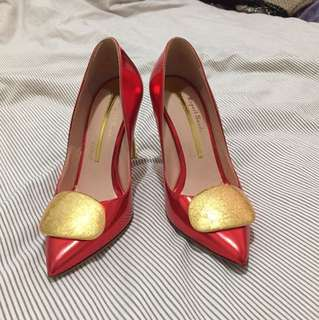 Rupert Sanderson red gold edition pumps Sz 34