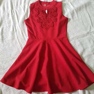 Embroided Red Dress