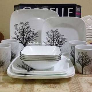 Corelle Dinnerware ( Square/Timber Shadows) 16 pcs