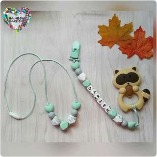 Handmade beads necklace & Pacifier Clip with customisation of name + Raccoon teether