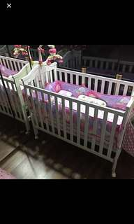 Baby Child Kid Cot Bed With Mattress Bedding Set & Carousel Musical Toy
