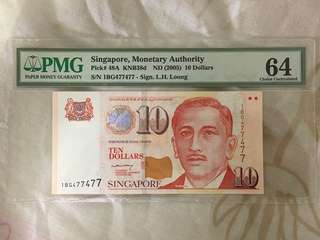Fundraising Sale - Singapore Portrait Series $10 Paper Banknote Lee Hsien Loong Signature Repeater Numbers 477477 PMG 64 UNC