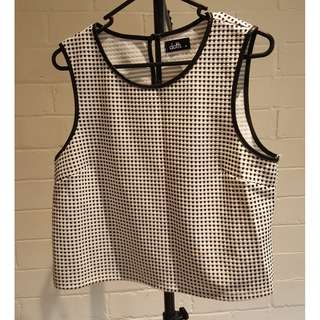 Dotti Black and White Singlet Top Size M 10 12 Excellent Condition