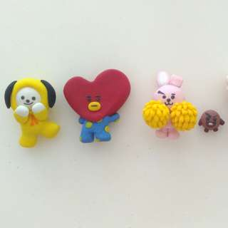 Polymer clay BTS BT21 Chimmy, Mang, RJ, Koya, Cooky, Shooky and Tata #Bajet20