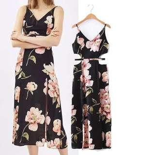 (PO) floral side cut out dress