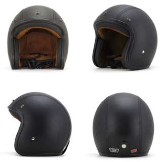 Black Leather Motorcycle Helmet Open Face Three Button Snap Retro Vintage Vespa Scooter Cafe Racer Motorbike Leather Gloss Old School Harley Davidson