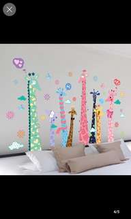 2 in 1 Large Size Personalized creative living room bedroom sofa wall stickers decorative stickers zoo cartoon cute pattern giraffe Home decor