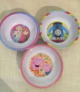 Charity Sale! Set of Three Kids Bowls Peppa Pig Thomas the Train Disney Frozen