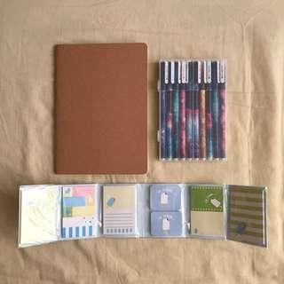 Sketchbook + Gel Pens + Sticky Notes