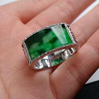 🏵️18K White Gold - Grade A Spicy Green Saddle/Rectangle Jadeite Jade Man's Ring🏵️