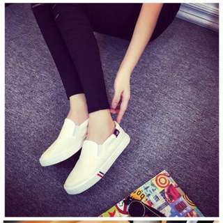 White Canvas Loafers in Size 35