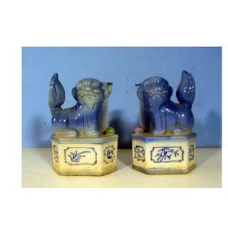Antique rare porcelain foo dogs with candle holders one pair circa 1930s