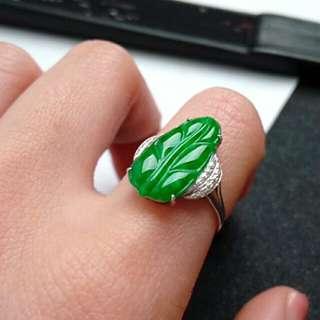 🎋18K White Gold - Grade A 冰糯 Full Green Leaf 一夜爆富 Jadeite Jade Ring🎋