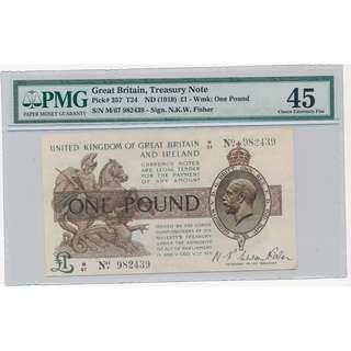 1919年~UNITED KINGDOM OF GREAT BRITAIN AND IRELAND ONE POUND PMG45