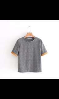 Europe and the United States new Slim was thin hit color jacquard round neck short-sleeved top
