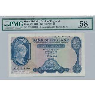 1957-67年~英倫銀行 5鎊 Great Britain Bank of England FIVE FOUNDS PMG 58- AU