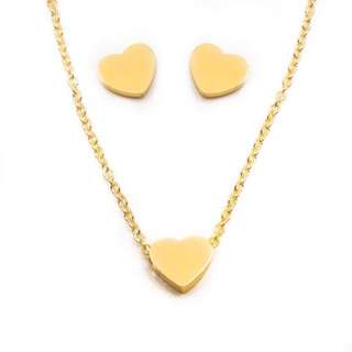 Silverworks Heart Gold plated Set