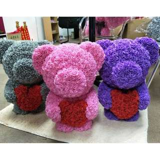 55CM CUTIE BEAR ROSE FLOWER READY STOCK AVAILABLE