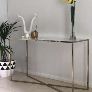 Brand New Carrara Marble Gold Console Hallway Table