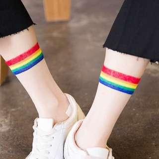 Korean Ulzzang: Transparent Rainbow Socks