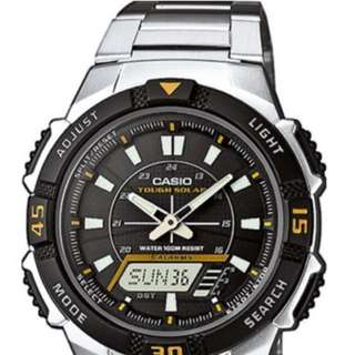Casio 太陽能solar powered analog-digital steel strap World time, illuminator, extra NATO strap