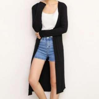 《INSTOCK 》 Black Long Cardigan Jacket Sweater