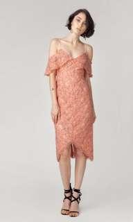 Juillet Official Blossom Lace Cold Shoulder Ruffle Dress